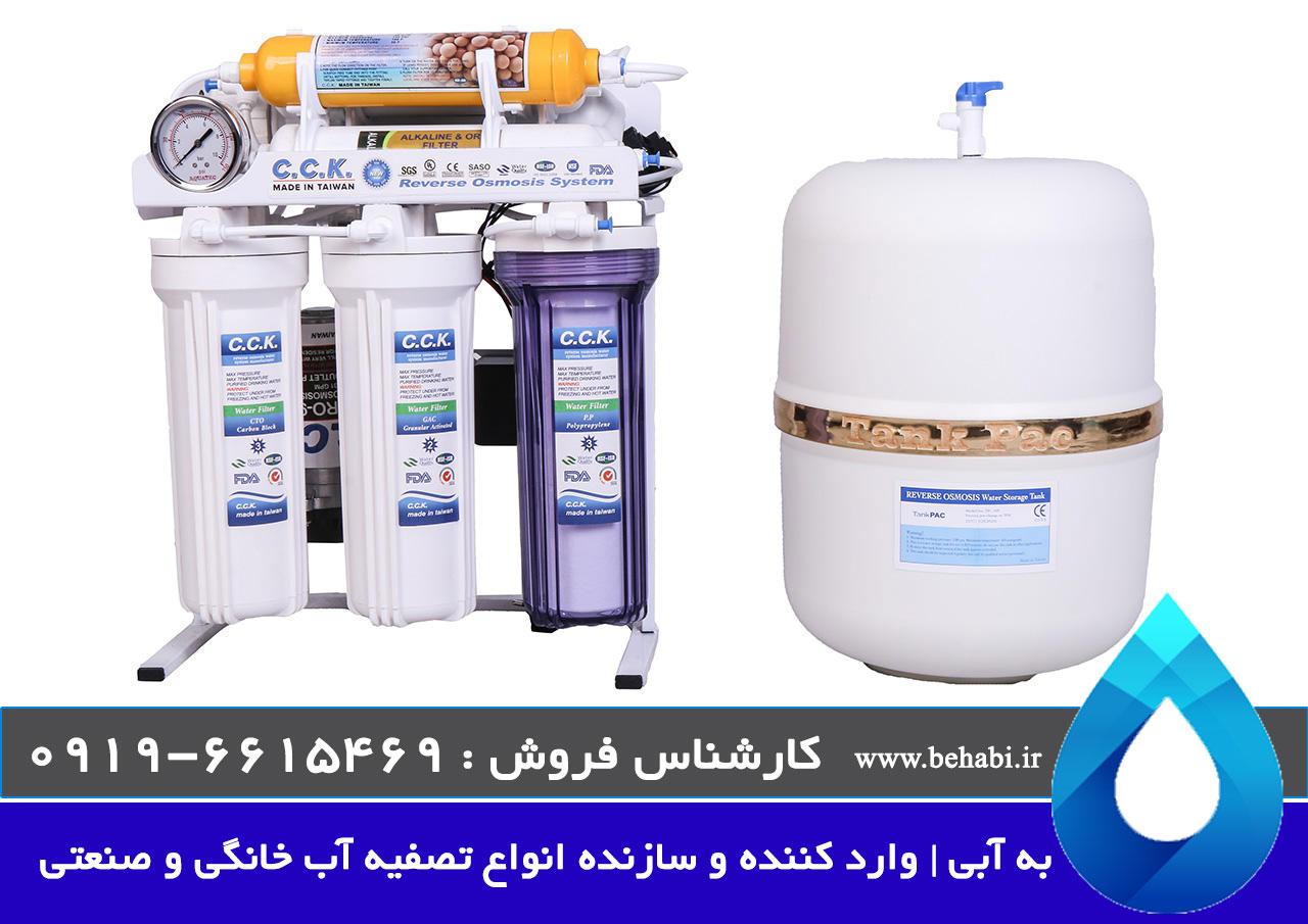 دستگاه تصفیه آب cck با سیستم تصفیه اسمز معکوس، قلیایی